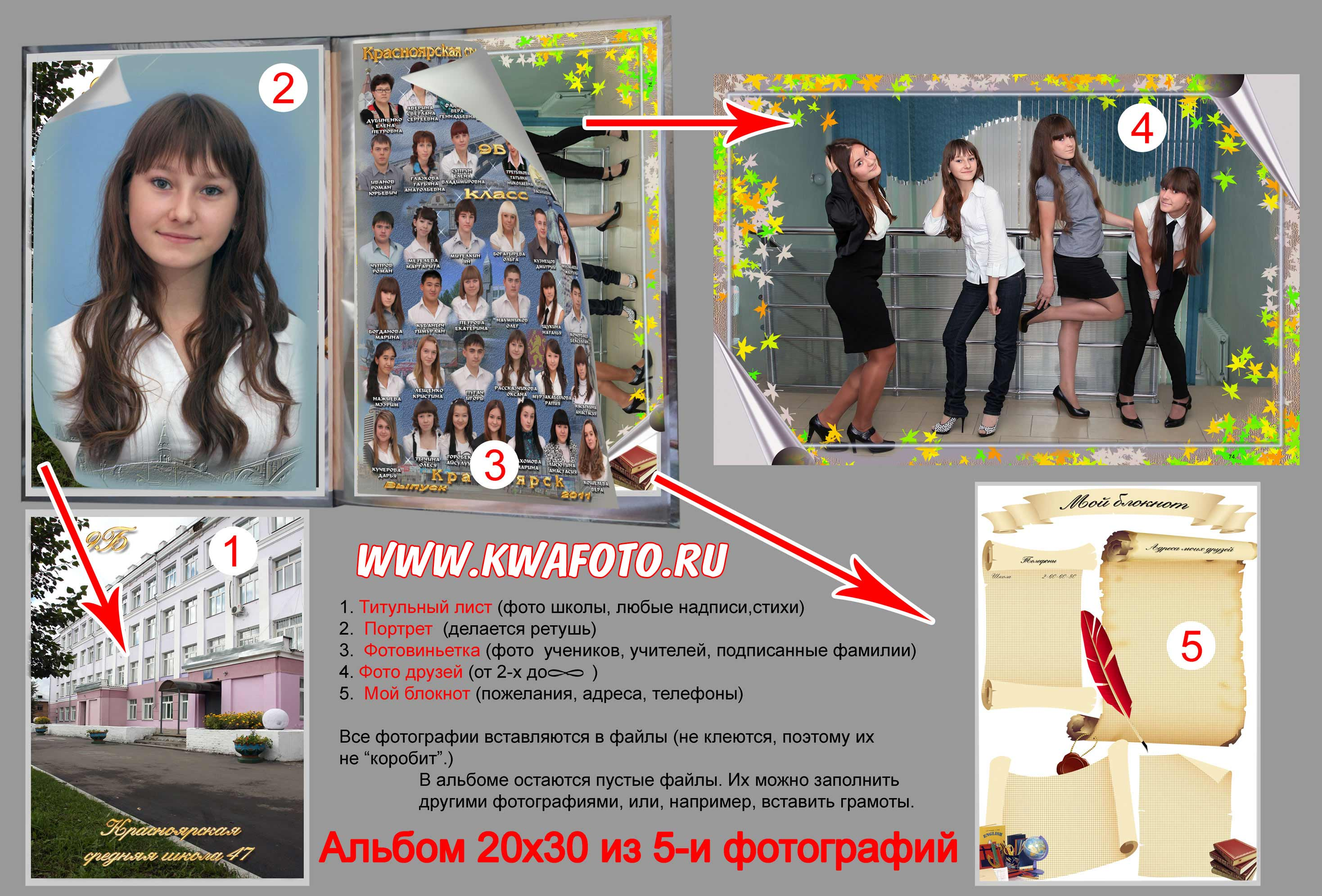 выпускной фотоальбом 5 фото 20х30,средняя школа №47